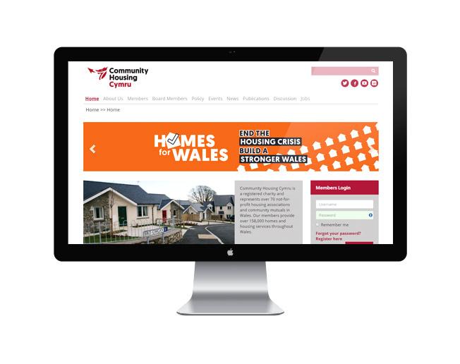 Screenshot of the Community Housing Cymru website