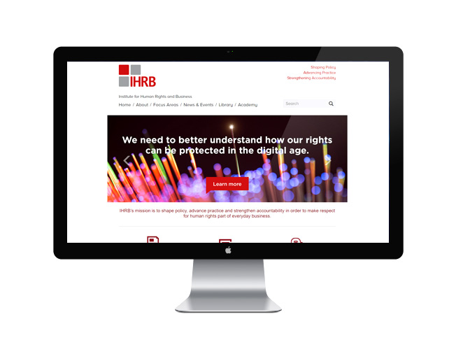 Screenshot of the Institute for Human Rights and Business website