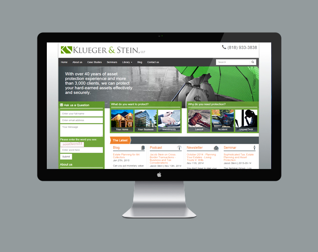 Screenshot of the Klueger & Stein, LLP website