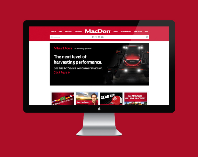 Screenshot of the MacDon website