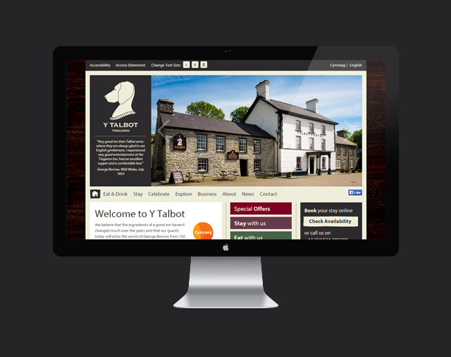 Screenshot of the Y Talbot Hotel, Tregaron website